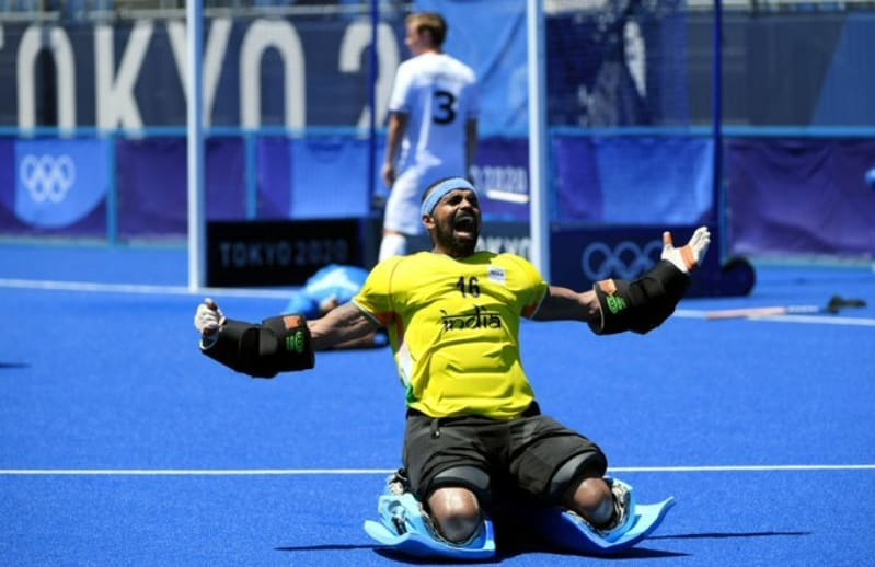 Indian goal keeper celebrating win against germany